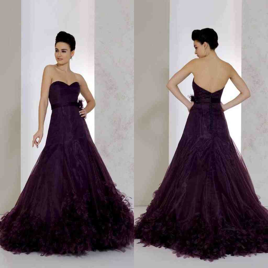 Dark purple wedding dress wedding and bridal inspiration for Wedding dresses with purple trim