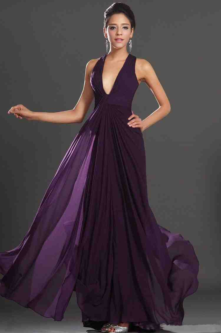Long Dark Purple Bridesmaid Dresses