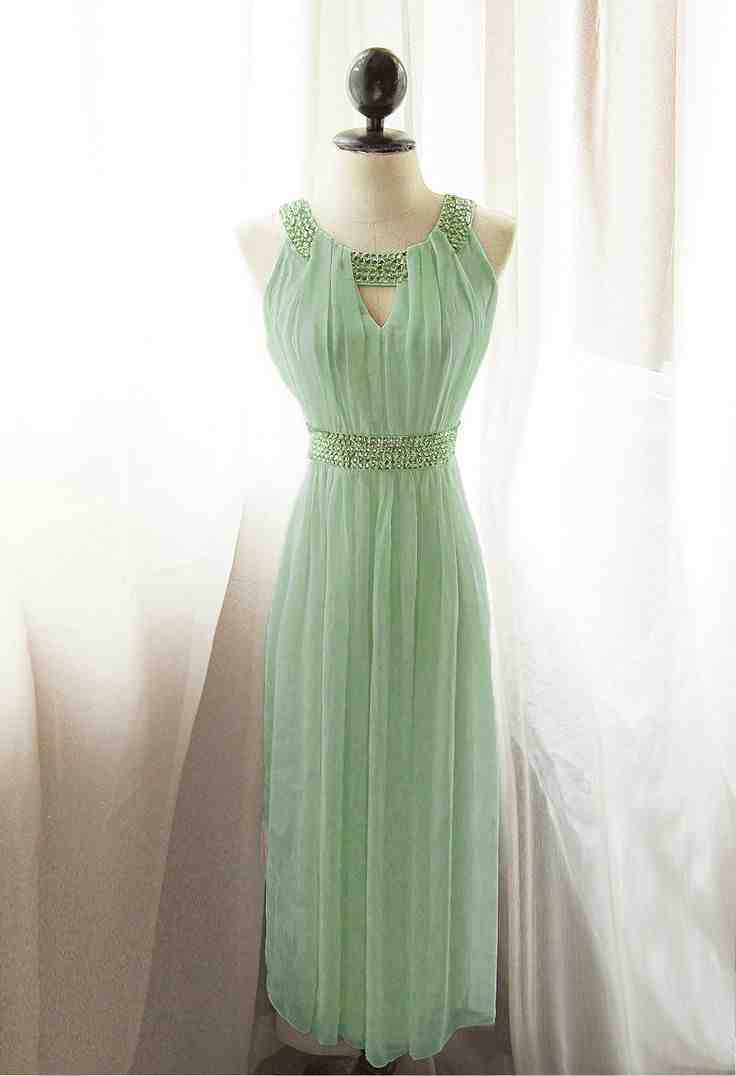 Mint chiffon bridesmaid dress wedding and bridal inspiration for Mint dresses for wedding