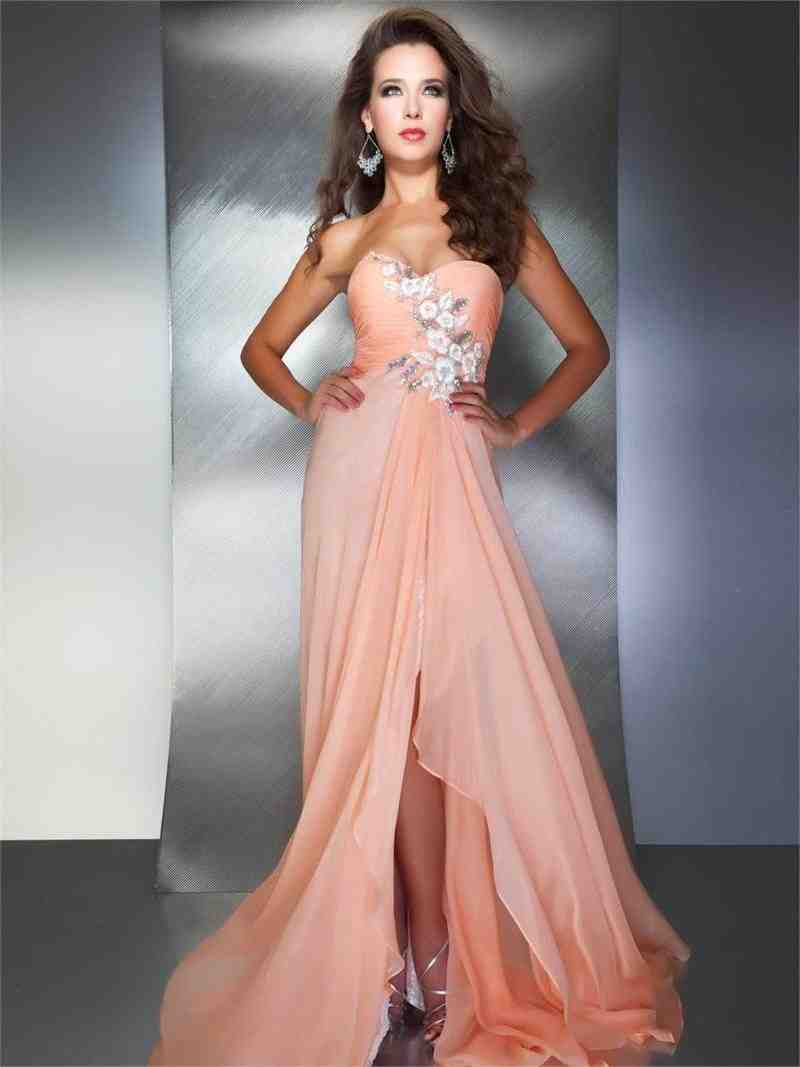 Peach chiffon bridesmaid dresses wedding and bridal for Peach dresses for wedding