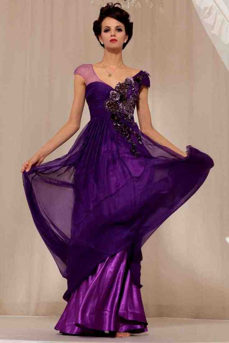 Royal purple wedding dress wedding and bridal inspiration for Wedding dresses with purple trim