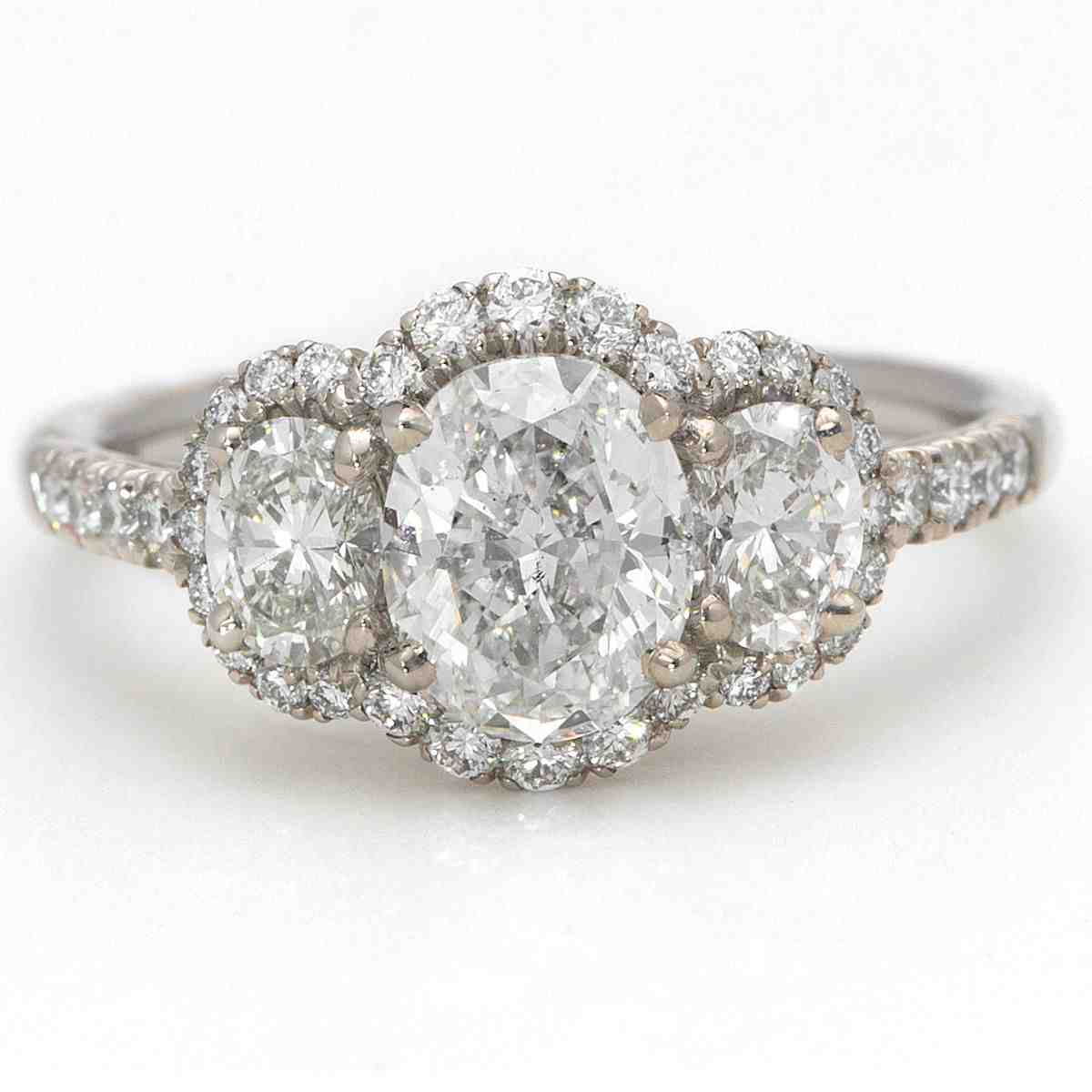 Three Stone Oval Engagement Rings Wedding and Bridal Inspiration