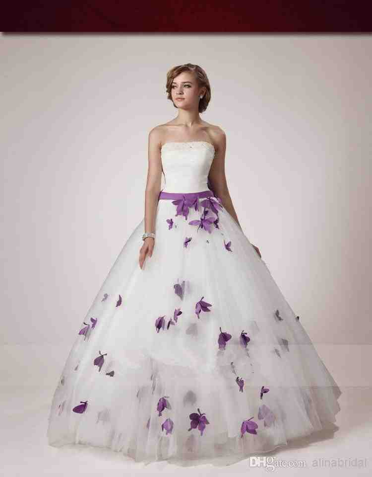 White and purple wedding dress wedding and bridal for Wedding dresses with purple trim