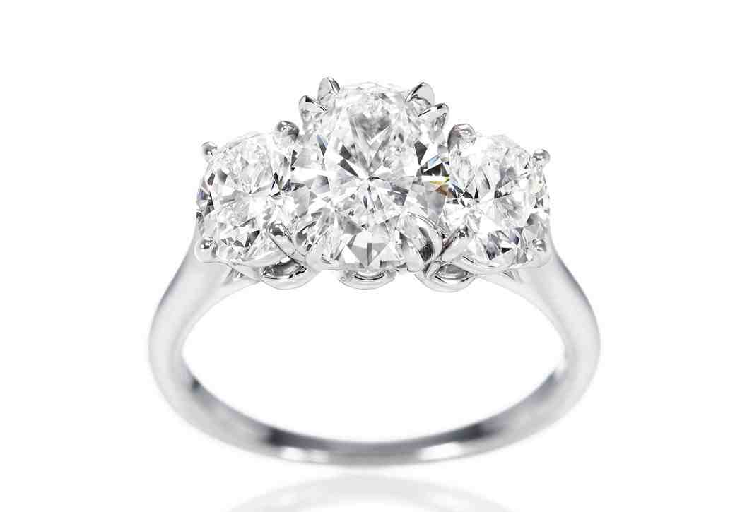 3 stone oval engagement rings wedding and bridal inspiration With wedding bands for oval rings