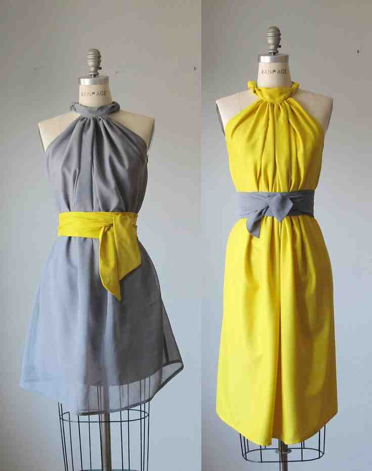 Yellow And Gray Wedding Bridesmaid Dresses 32