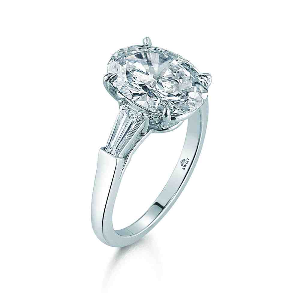 oval engagement ring with baguettes wedding and bridal