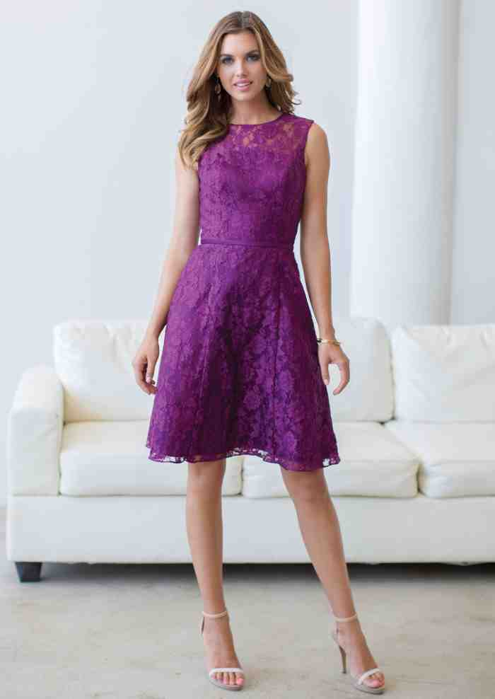 purple knee length bridesmaid dresses wedding and bridal