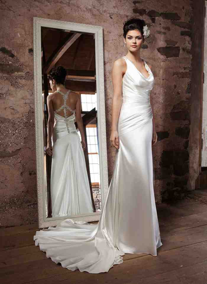 Satin sheath wedding dress wedding and bridal inspiration for Satin silk wedding dresses