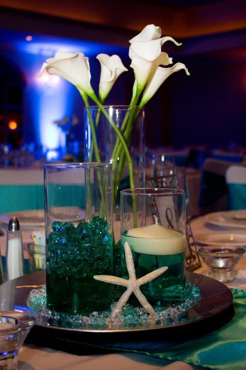 Beach themed wedding centerpiece ideas and