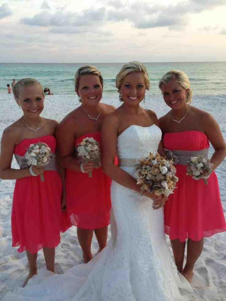 Coral beach bridesmaid dresses wedding and bridal for Coral bridesmaid dresses for beach wedding