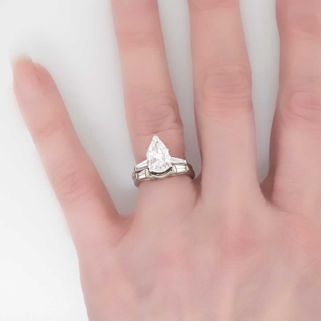 Pear Shaped Engagement Ring With Baguettes Wedding and Bridal Inspiration