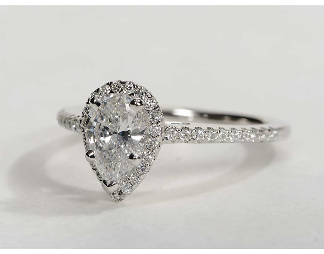 Pear shaped halo engagement rings wedding and bridal for Halo engagement rings with wedding bands