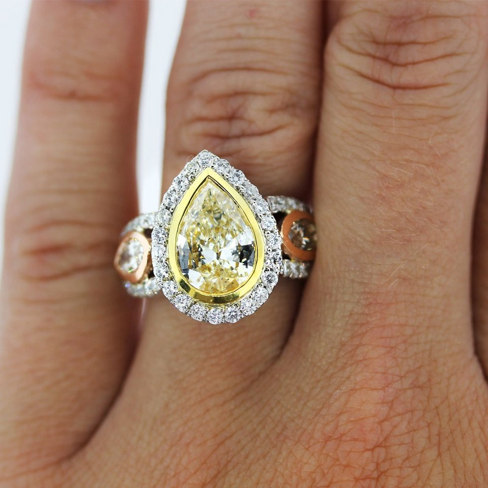 Pear Shaped Yellow Diamond Engagement Rings Wedding and Bridal Inspiration