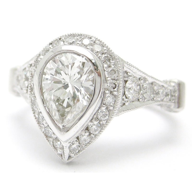 Settings for pear shaped diamond engagement rings for Wedding bands for pear shaped rings