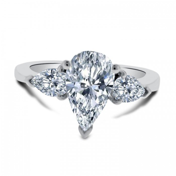 Three Stone Pear Shaped Engagement Ring Wedding And Bridal Inspiration