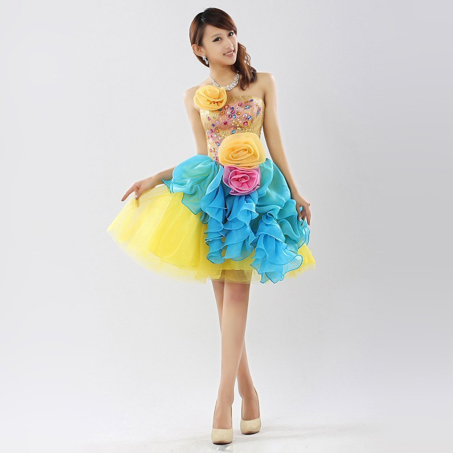 Non Traditional Wedding Dresses With Color: Short Colorful Wedding Dresses
