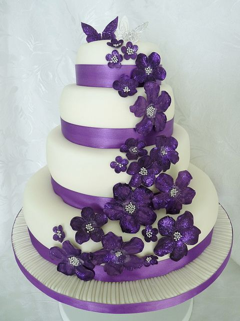 wedding cake with purple flowers wedding cakes with purple flowers wedding and bridal 26946