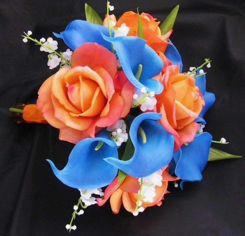 13 Beach Wedding Hair Ideas You Need To See Right Now: Orange And Blue Wedding Flowers