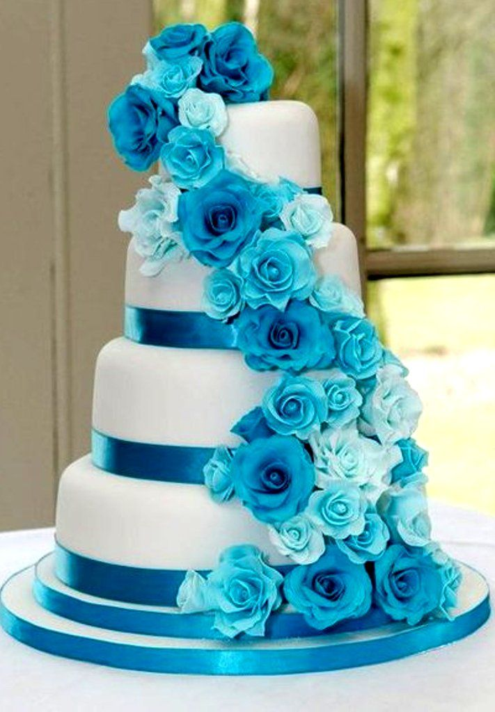 white wedding cake with blue flowers wedding cake with blue flowers wedding and bridal 27403