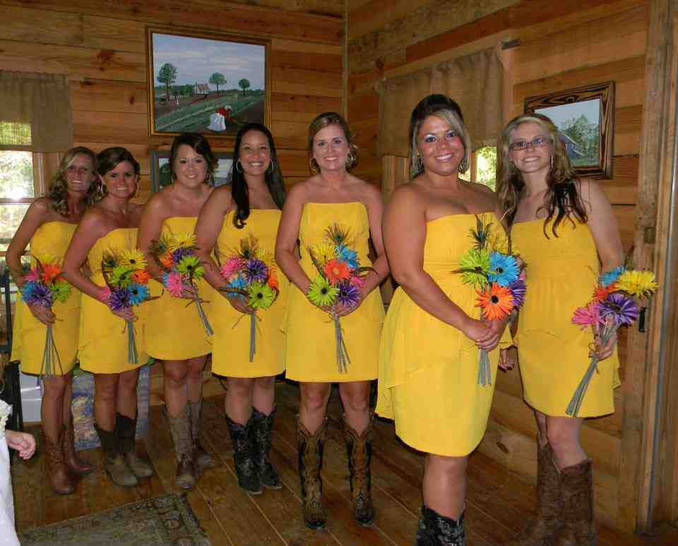 Country Wedding Bridesmaid Dresses With Cowboy Boots Wedding And Bridal Inspiration,Corset Halter Top Wedding Dress